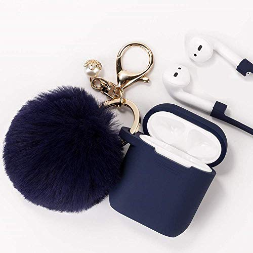 Airpods Case - Filoto Airpods Silicone Case Cover with Fur Ball Keychain/Strap for Apple Airpod (Dark Blue)
