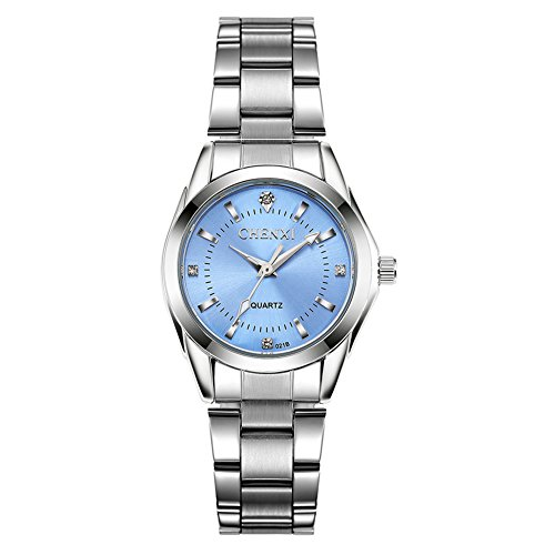 Luxury Womens Wrist WatchesMothers Day Gift Silvery Stainless Steel Wristwatches for LadyBlue Face with Rhinestones Index