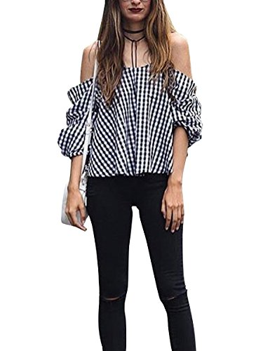Glamaker Women's Sexy Striped Off Shoulder Blouses Tops Shirt S 0/2 Black White Plaid