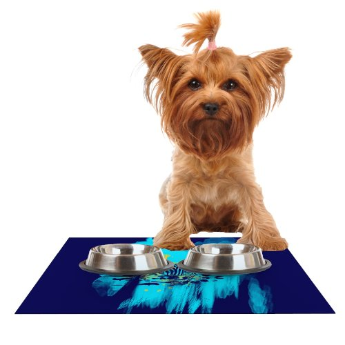 Kess InHouse Frederic Levy-Hadida Watercolord bluee  Zebra Feeding Mat for Pet Bowl, 18 by 13-Inch