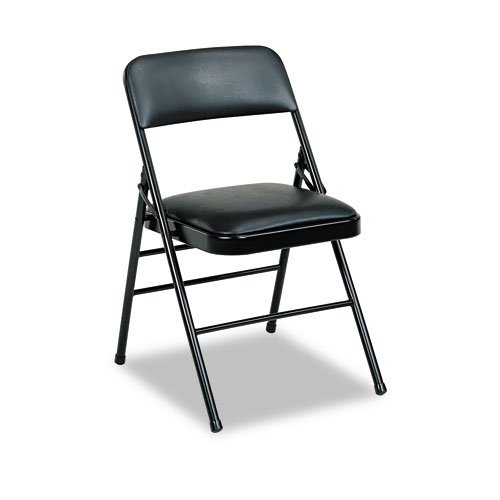 BridgeportTM Deluxe Vinyl Padded Series Folding Chairs, Black Vinyl and Frame, Four/Carton by Bridgeportâ''¢