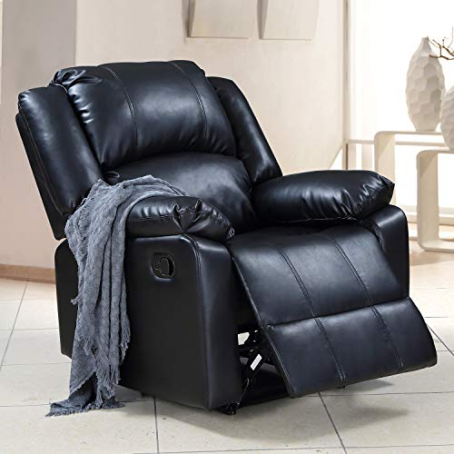 P PURLOVE Recliner Chair Padded Seat PU Leather Living Room Sofa Lift Chair for Home Theater Seating (Black)