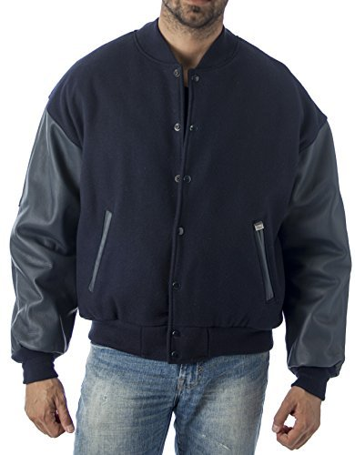 REED Men's Premium Varsity Leather/Wool Jacket Made in USA (XLT, Navy)