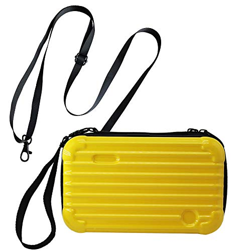 Mygogo Hard Shell Travel Comestic Case Waterproof Makeup Handy Bag Dual-Use bag Mini Suitcase Handbag Case Crossbody Bag Case with Wrist Strap and Shoulder Strap (Yellow)