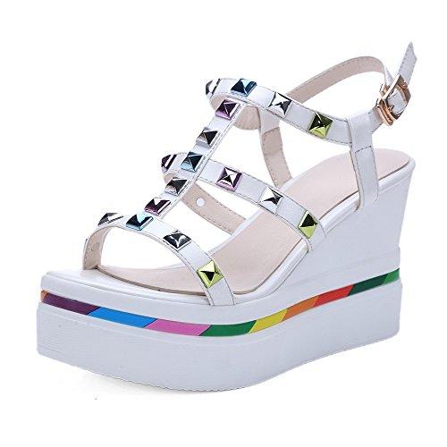 AgooLar Women's Open Toe High Heels Assorted Color Buckle Sandals White