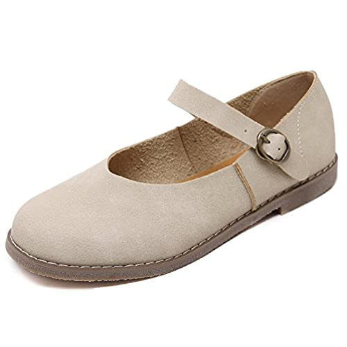 well-wreapped Hehainom Women's Casual Mary Jane Shoes Solid Color Ballet Flats Shoes