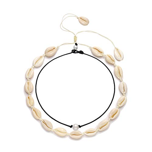 VUJANTIRY Cowrie Shell Choker Necklace for Women Hawaiian Seashell Pearls Choker Necklace Statement Adjustable Cord Necklace (Shell&Pearls Choker #2)