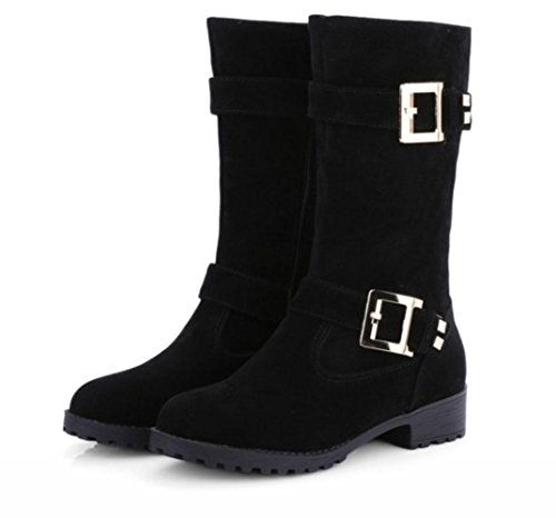 Winter Stiefel Damen und Herbst Damen Stiefel Gürtelschnalle KUKI Stiefel Größe Damen Schwarz Stiefel RqpwAnE
