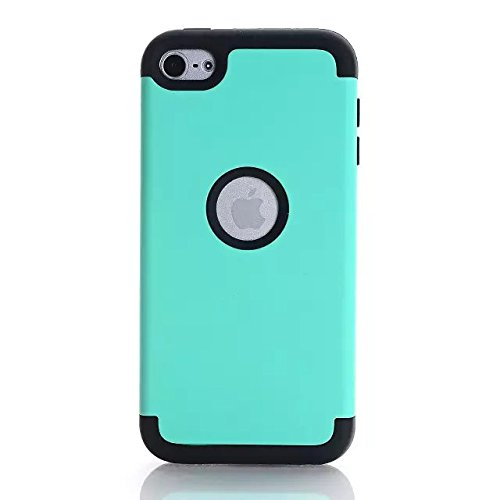Lantier 3 Layers Verge Hybrid Soft Silicone Hard Plastic TUFF Triple Quakeproof Drop Resistance Protective Case Cover for iPod Touch 6th Generation with Stylus Mint Green/Black ()