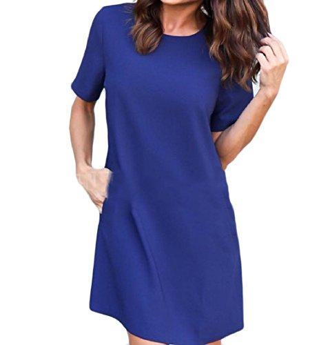 Corte Solido Vestito collo Maniche donne Midi Pattern1 Coolred Del A Colore line O Tasche CTwpWfqa