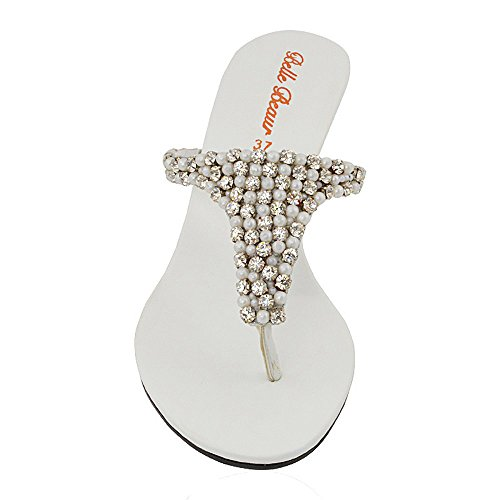 ESSEX Le Diamante Zeppa Scintillante Bianco Scarpe GLAM Elegante Sandali Finto Signore Donna con Tacco Infradito a TYTqr4