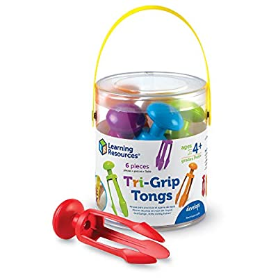 Learning Resources 3 Prong Tong, Pencil Grip Tongs, Sensory Bin, Fine Motor Toy, Set of 6, Ages 4+: Toys & Games