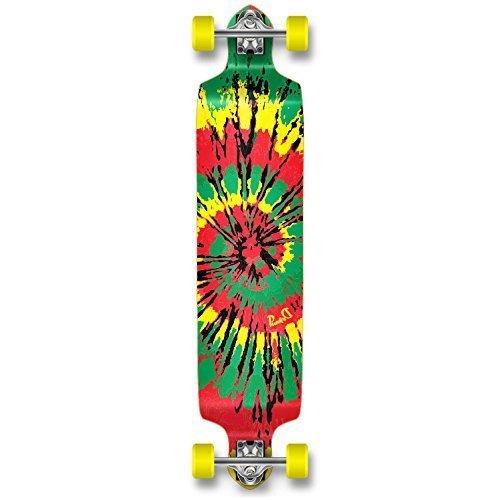 - YOCAHER Professional Speed Drop Down Complete Longboard Skateboard (Tiedye Rasta)