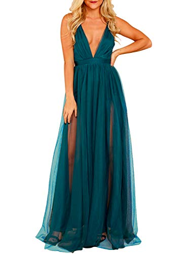 MIHOLL Women's Sexy V Neck Tulle Maxi Dress High Split Flowy Evening Prom Long Dresses
