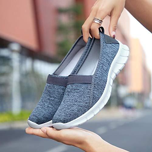 Facile à Paresseuses Antidérapant Mocassin Chaussures Gris BaZhaHei Respirant Chaussures de Semelle Foncé Femmes Décontractées Porter Sport Souple Pqffv