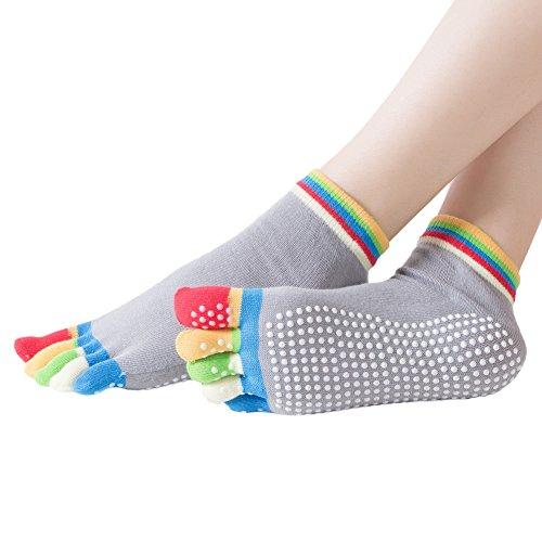 Yoga Socks Non Slip Skid Pilates Barre Ballet Fitness Ankle Socks with Grips Colored Full Toe for Women