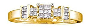 0.25 cttw 14k Yellow Gold Princess Cut Diamond Invisible Set Engagement Ring