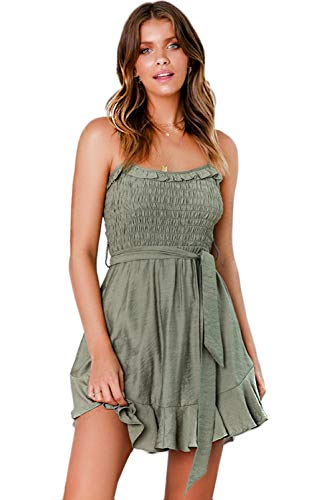 LOMON Sundresses for Women Spaghetti Strap Tie Waist Irregular Hem Beach Party Mini Dress (Army Green,M)