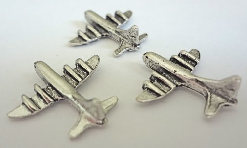 NEW ITEM Airplane Push Pins, Antique silver, T-503AS, set of 15