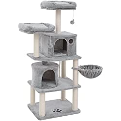 """SONGMICS Multi-Level 60"""" Cat Tree with Sisal-Covered Scratching Posts, Plush Perches, Basket and 2 Condos, Cat Tower Furniture - for Kittens, Cats and Pets Light Gray UPCT90W"""