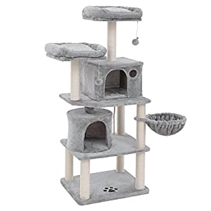 FEANDREA Multi-Level 60 inches Cat Tree with Sisal-Covered Scratching Posts, Plush Perches, Basket and 2 Condos, Cat Tower Furniture - for Kittens, Cats and Pets Light Gray UPCT90W 109