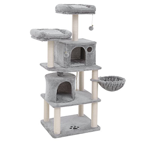 FEANDREA Multi-Level 60 inches Cat Tree with Sisal-Covered Scratching Posts, Plush Perches, Basket and 2 Condos, Cat Tower Furniture - for Kittens, Cats and Pets Light Gray UPCT90W (Cat Tree For Multiple Cats)