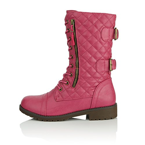 Pocket Exclusive Knee High Women's Credit Combat DailyShoes Hot Pu Pink Buckle Quilted Military Mid Card Up Boots Quilted Lace Rqv6B8