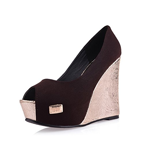 à Marron Ouvert Heels pumps balamasa shoes Bout High Massif enfiler Femme SIxBwPqa
