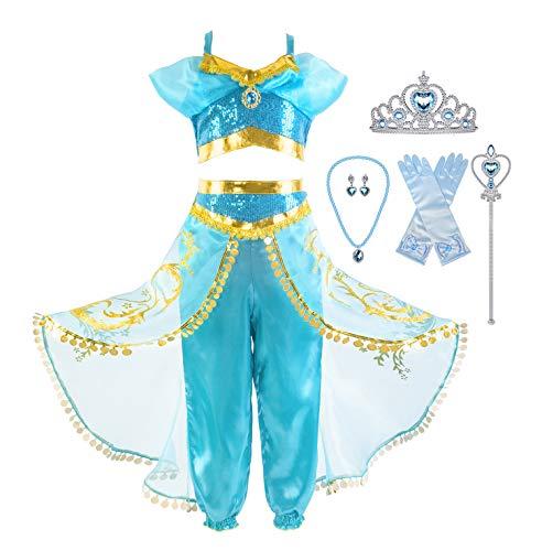 Okidokiyo Girls Princess Jasmine Dress Up Costumes Halloween
