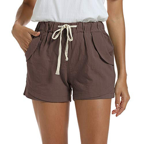NEWFANGLE Women's Cotton Linen Causal Shorts Comfy Beach Short Drawstring Elastic Waist Shorts(Brown,L)