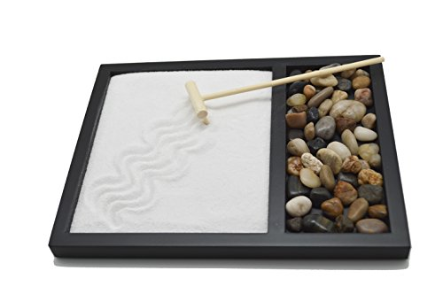 Sand & Rock Zen Garden Kit with rake by Tatum & Shea