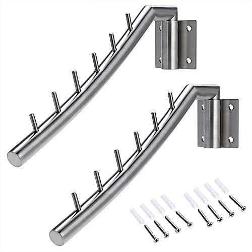 Wall Mount Clothing Rack - 2 Pack - Stainless Steel Hanging