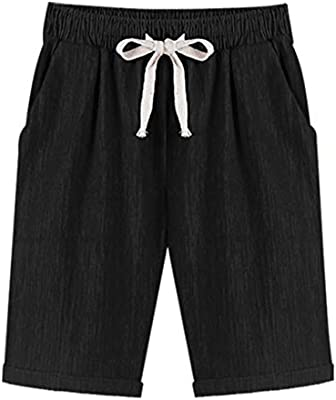 Fuwenni Womens Casual Elastic Waist Knee-Length Comfy Bermuda Shorts with Drawstring
