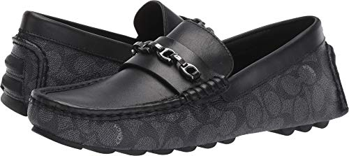 Black Signature Loafers Shoes - Coach Men's Mixed Material Signature Chain Driver Charcoal/Black 10 D US