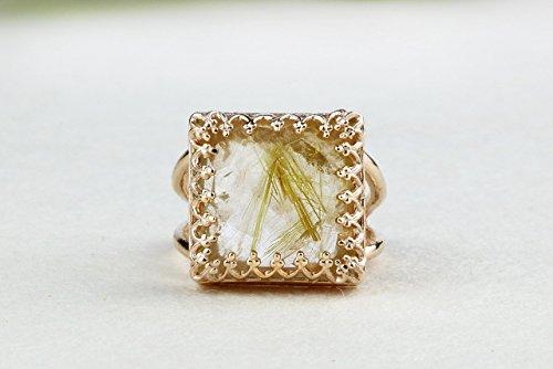 Precious Stacks - Gold rutilated quartz ring,square ring,rose gold ring,gemstone ring,emerald cut ring,semiprecious rings,stack ring