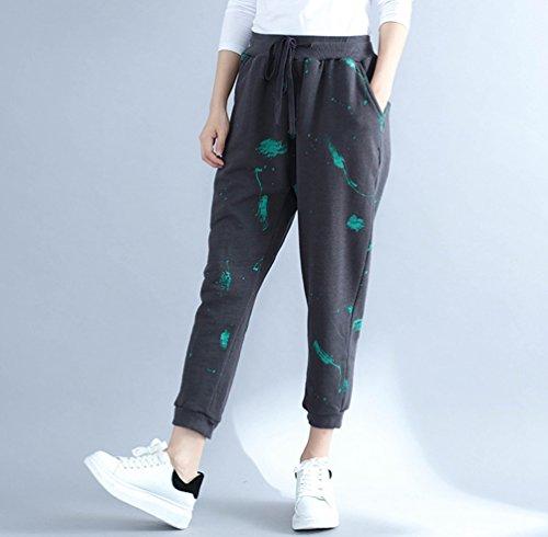 Baggy Grandi Grigio Wanyang Donne Pants Dimensioni Lungo Casuale Pantaloni Elasticità Sportivi E Yoga Di Jogging 16Xq64