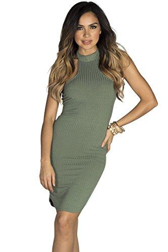 High Society Dress (Babe Society Women's Sage Bodycon Ribbed Jersey High Halter Neckline Mini Dress Small)