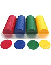 Purplert Plástico Opaco de 160pcs Contadores de fichas de póker Color sólido Sin denominación
