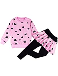 Little Girls Clothing Set Outfit Heart Print Hoodie...