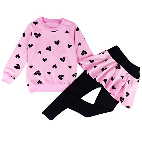 DDSOL Little Girls Clothing Set Outfit Heart Print Hoodie Top+Long Pantskirts 2pcs (150(8-9Y), Pink) -