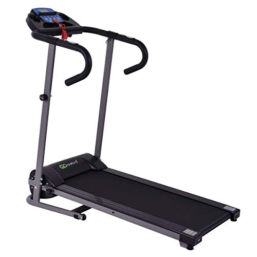 Goplus Folding Treadmill 1100W Running Jogging Machine for Home with LCD Display and Pad Holder
