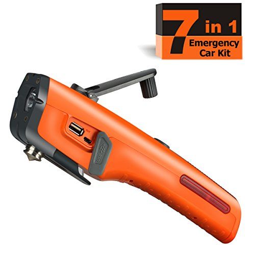 Emergency Tool Kit with LED Flashlight & USB Charger 7-in-1 Rescue Tool Vehicle Emergency Escape Tool with Window Breaker & Seat Belt Cutter Car Safety Hammer for Roadside / Automotive (Emergency Preparedness System)