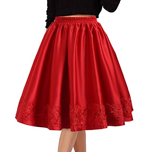 DYS Women's 1950's Vintage Skirt Casual Cocktail Party Dress Appliques Hemline 2Red S/M