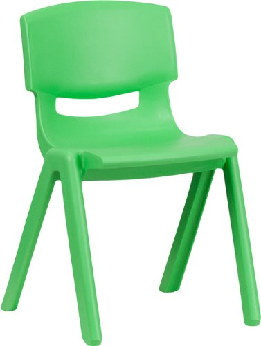 Flash Furniture Green Plastic Stackable School Chair with 13.25'' Seat Height -