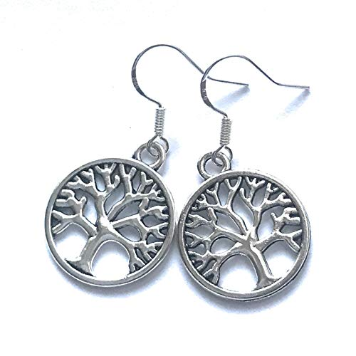 Silver Tree of Life Circle Dangle Earrings French Hook - French Earwires Hook