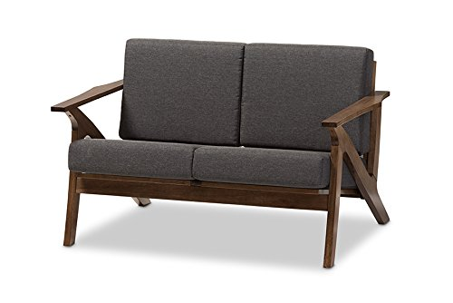 Baxton Studio Genie Mid-Century Modern Wood Grey Fabric Living Room 2-Seater Loveseat Settee, Walnut