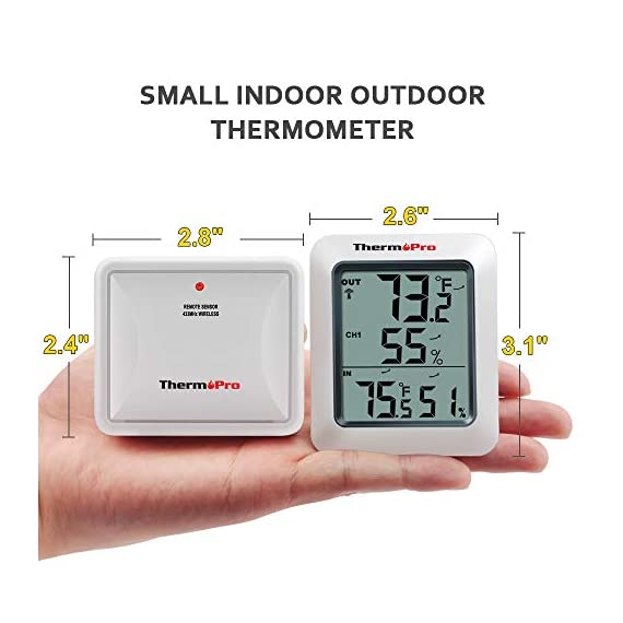 ThermoPro TP60S Digital Hygrometer Indoor Outdoor Thermometer Wireless Temperature and Humidity Gauge Monitor Room Thermometer with 200ft/60m Range Humidity Meter 2 Informational: Weather stations wireless indoor outdoor records all time/24 hours max and min temperature and humidity readings; wireless thermometer indoor outdoor with temperature trend arrows indicate whether it's getting warmer or colder near the remote temperature monitor Smart design: Temperature and humidity monitor can display the readings from up to 3 temperature sensors to monitor different locations; additional sensor can be ordered Wide temp and humid range: Inside outside thermometer hydrometer measures indoor outdoor temperature and humidity percentages simultaneously; Indoor/outdoor temperature range: -4°f to 158°f (-20°c to 70°c); humidity range: 10% to 99%