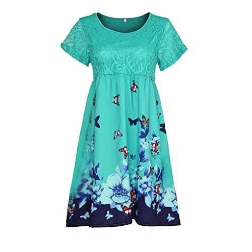 BODOAO Women Plus Size Dresses Floral Printed Short Sleeve Lace Stitching Loose Beach Dresses ()