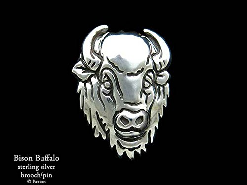 Bison Buffalo Brooch Pin in Sterling Silver Hand Carved & Cast by Paxton by Paxton Jewelry