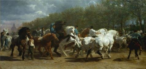 ('Rosa Bonheur-The Horse Fair,1853-1855' Oil Painting, 12x25 Inch / 30x64 Cm ,printed On Polyster Canvas ,this Reproductions Art Decorative Prints On Canvas Is Perfectly Suitalbe For Study Artwork And Home)